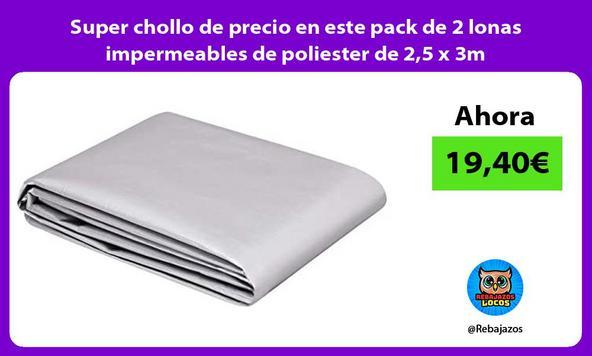 Super chollo de precio en este pack de 2 lonas impermeables de poliester de 2,5 x 3m