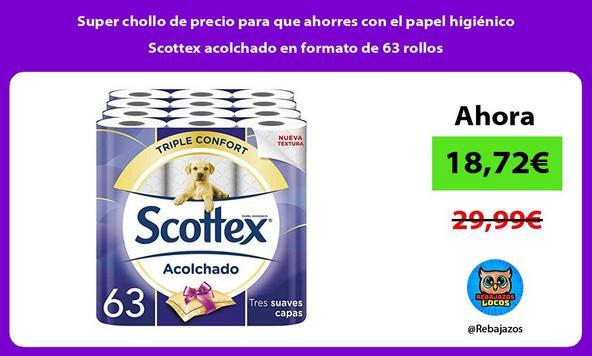 Super chollo de precio para que ahorres con el papel higiénico Scottex acolchado en formato de 63 rollos