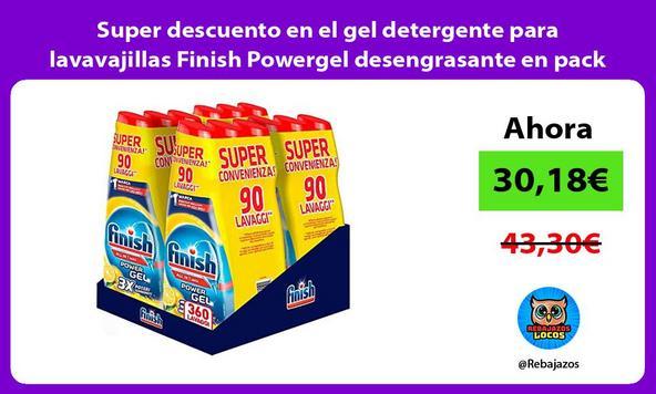 Super descuento en el gel detergente para lavavajillas Finish Powergel desengrasante en pack de 12