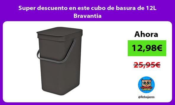 Super descuento en este cubo de basura de 12L Bravantia