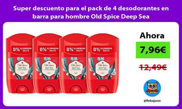 Super descuento para el pack de 4 desodorantes en barra para hombre Old Spice Deep Sea