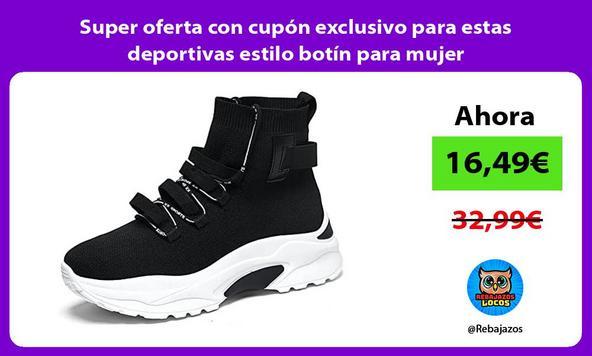 Super oferta con cupón exclusivo para estas deportivas estilo botín para mujer