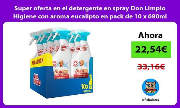 Super oferta en el detergente en spray Don Limpio Higiene con aroma eucalipto en pack de 10 x 680ml