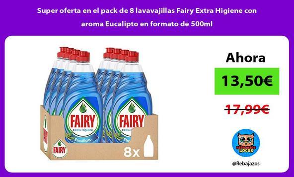 Super oferta en el pack de 8 lavavajillas Fairy Extra Higiene con aroma Eucalipto en formato de 500ml