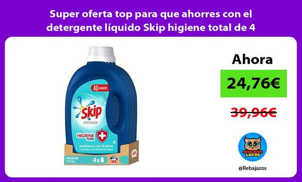 Super oferta top para que ahorres con el detergente líquido Skip higiene total de 4 unidades