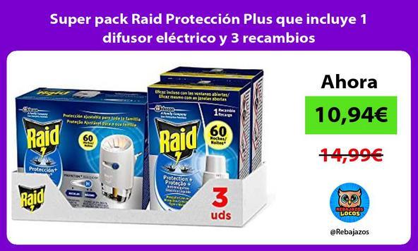 Super pack Raid Protección Plus que incluye 1 difusor eléctrico y 3 recambios