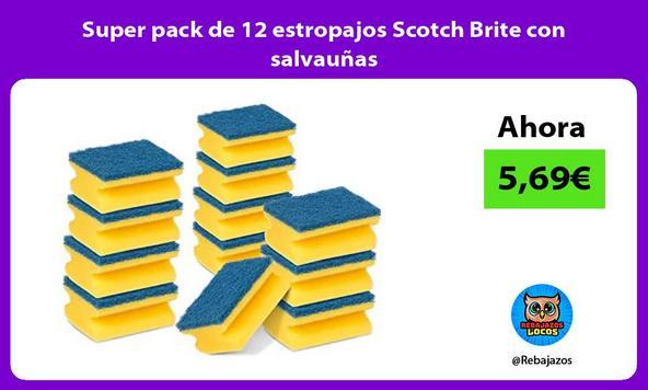 Super pack de 12 estropajos Scotch Brite con salvauñas