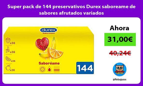 Super pack de 144 preservativos Durex saboreame de sabores afrutados variados