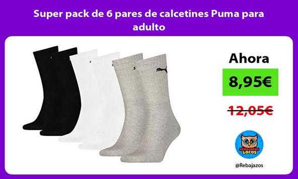 Super pack de 6 pares de calcetines Puma para adulto