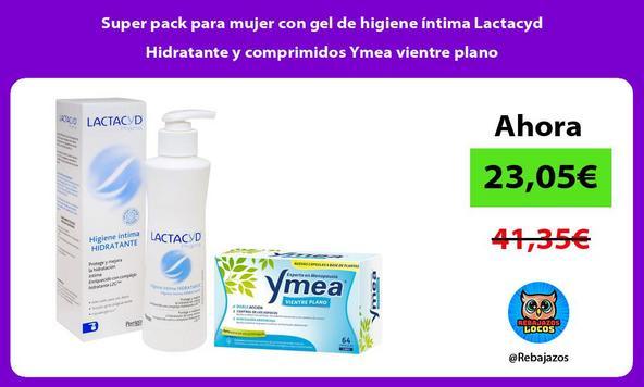 Super pack para mujer con gel de higiene íntima Lactacyd Hidratante y comprimidos Ymea vientre plano
