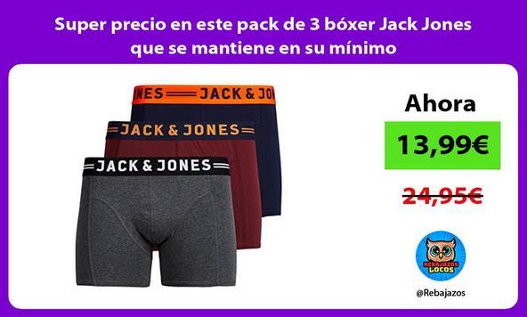 Super precio en este pack de 3 bóxer Jack Jones que se mantiene en su mínimo