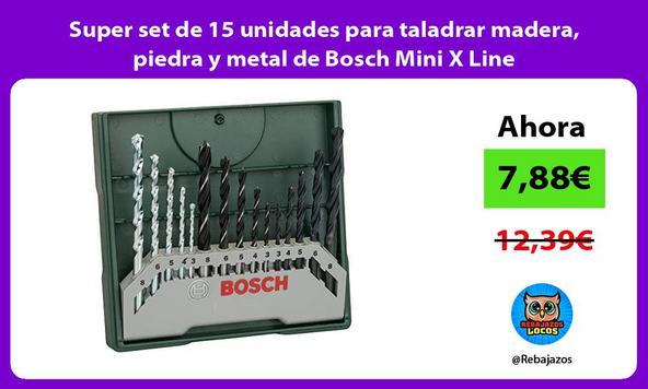 Super set de 15 unidades para taladrar madera, piedra y metal de Bosch Mini X Line