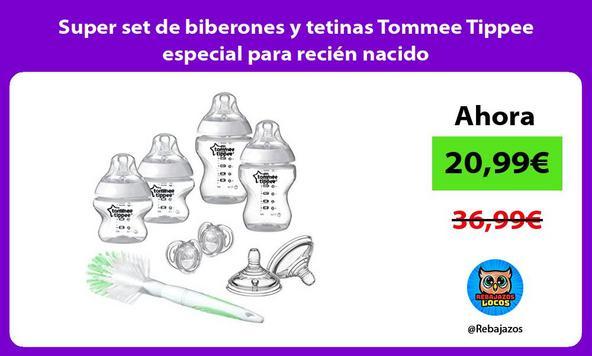 Super set de biberones y tetinas Tommee Tippee especial para recién nacido