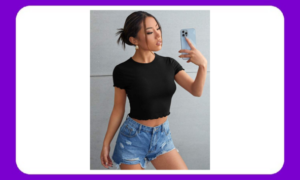 Superchollo en camisetas cortas de canalé para mujer
