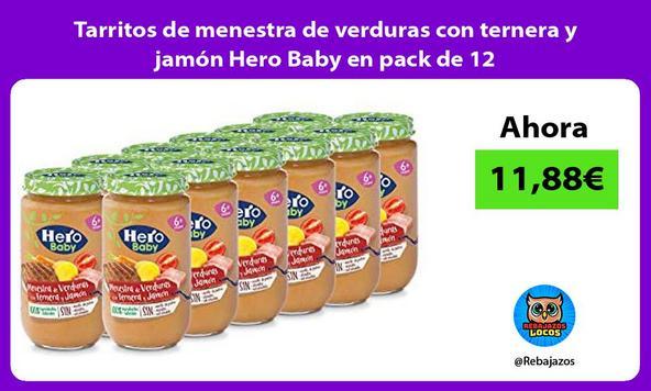 Tarritos de menestra de verduras con ternera y jamón Hero Baby en pack de 12