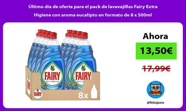 Último día de oferta para el pack de lavavajillas Fairy Extra Higiene con aroma eucalipto en formato de 8 x 500ml