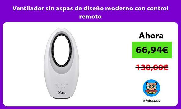 Ventilador sin aspas de diseño moderno con control remoto