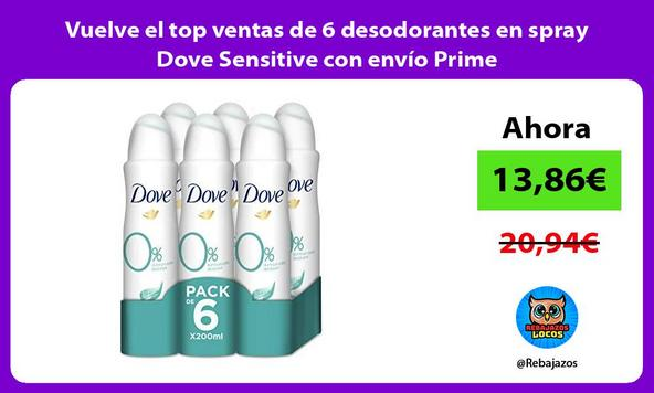Vuelve el top ventas de 6 desodorantes en spray Dove Sensitive con envío Prime