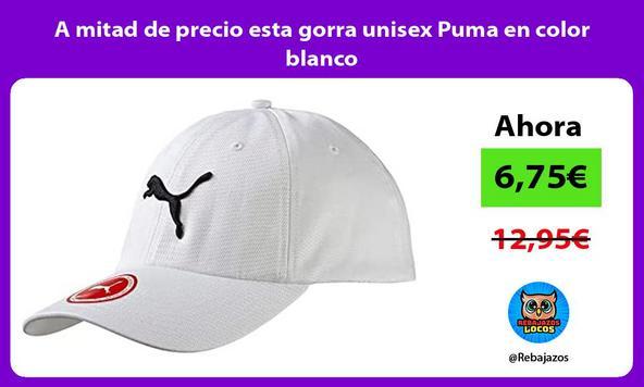 A mitad de precio esta gorra unisex Puma en color blanco