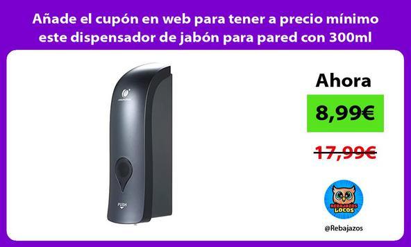 Añade el cupón en web para tener a precio mínimo este dispensador de jabón para pared con 300ml