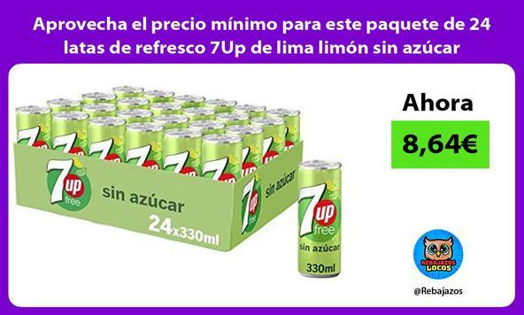 Aprovecha el precio mínimo para este paquete de 24 latas de refresco 7Up de lima limón sin azúcar