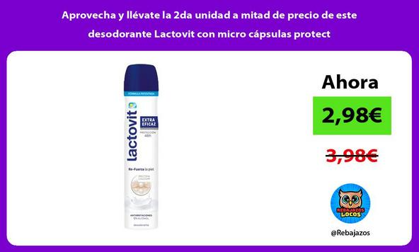 Aprovecha y llévate la 2da unidad a mitad de precio de este desodorante Lactovit con micro cápsulas protect