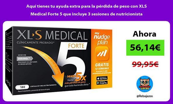 Aquí tienes tu ayuda extra para la pérdida de peso con XLS Medical Forte 5 que incluye 3 sesiones de nutricionista