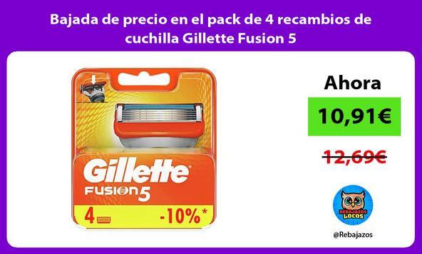 Bajada de precio en el pack de 4 recambios de cuchilla Gillette Fusion 5