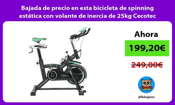 Bajada de precio en esta bicicleta de spinning estática con volante de inercia de 25kg Cecotec