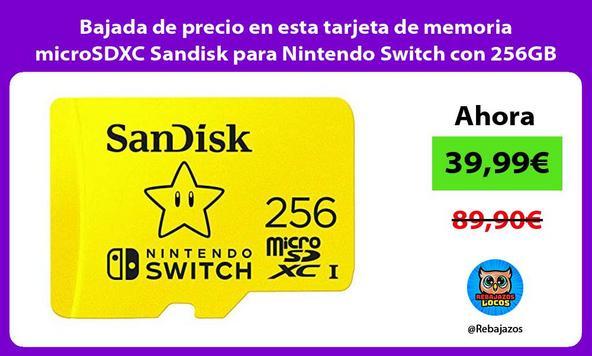 Bajada de precio en esta tarjeta de memoria microSDXC Sandisk para Nintendo Switch con 256GB