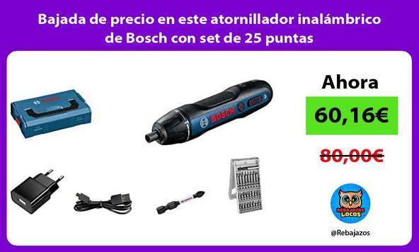 Bajada de precio en este atornillador inalámbrico de Bosch con set de 25 puntas