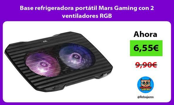 Base refrigeradora portátil Mars Gaming con 2 ventiladores RGB