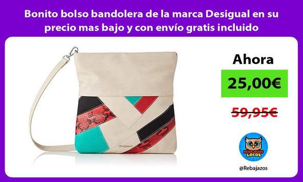 Bonito bolso bandolera de la marca Desigual en su precio mas bajo y con envío gratis incluido