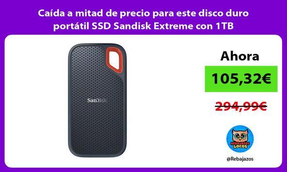 Caída a mitad de precio para este disco duro portátil SSD Sandisk Extreme con 1TB