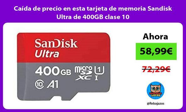 Caída de precio en esta tarjeta de memoria Sandisk Ultra de 400GB clase 10