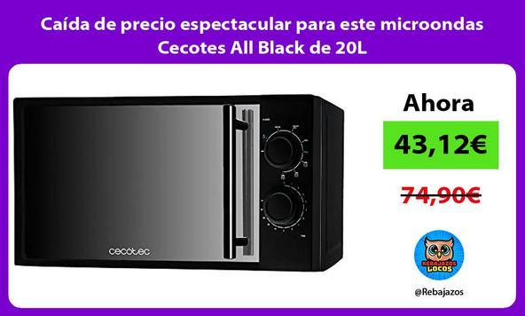 Caída de precio espectacular para este microondas Cecotes All Black de 20L