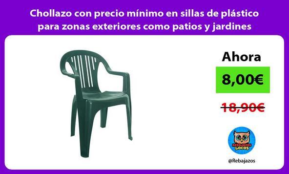 Chollazo con precio mínimo en sillas de plástico para zonas exteriores como patios y jardines