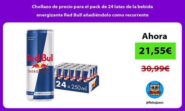 Chollazo de precio para el pack de 24 latas de la bebida energizante Red Bull añadiéndolo como recurrente