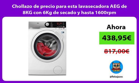 Chollazo de precio para esta lavasecadora AEG de 8KG con 6Kg de secado y hasta 1600rpm
