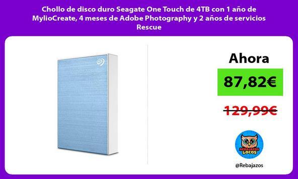 Chollo de disco duro Seagate One Touch de 4TB con 1 año de MylioCreate, 4 meses de Adobe Photography y 2 años de servicios Rescue