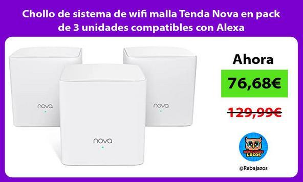 Chollo de sistema de wifi malla Tenda Nova en pack de 3 unidades compatibles con Alexa