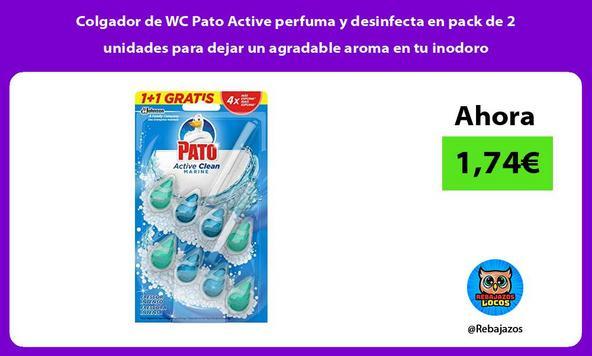 Colgador de WC Pato Active perfuma y desinfecta en pack de 2 unidades para dejar un agradable aroma en tu inodoro