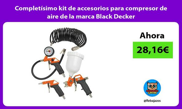Completísimo kit de accesorios para compresor de aire de la marca Black Decker