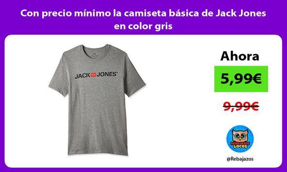 Con precio mínimo la camiseta básica de Jack Jones en color gris