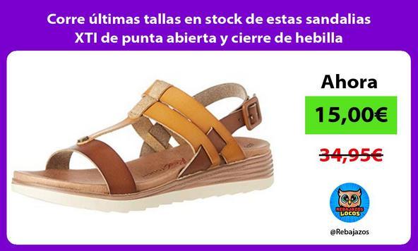Corre últimas tallas en stock de estas sandalias XTI de punta abierta y cierre de hebilla