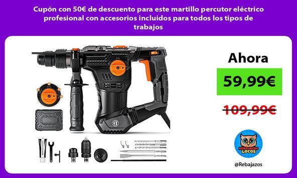 Cupón con 50€ de descuento para este martillo percutor eléctrico profesional con accesorios incluidos para todos los tipos de trabajos