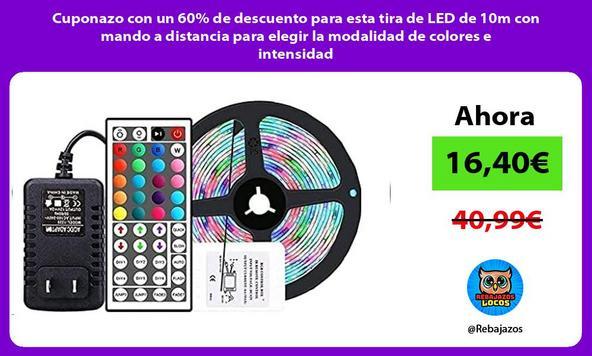 Cuponazo con un 60% de descuento para esta tira de LED de 10m con mando a distancia para elegir la modalidad de colores e intensidad