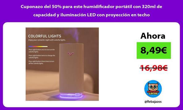 Cuponazo del 50% para este humidificador portátil con 320ml de capacidad y iluminación LED con proyección en techo