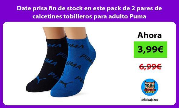 Date prisa fin de stock en este pack de 2 pares de calcetines tobilleros para adulto Puma