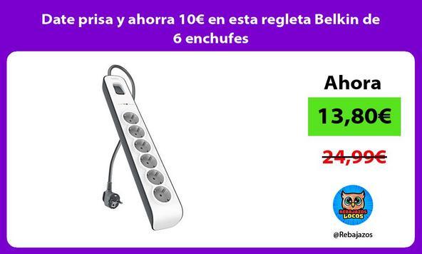 Date prisa y ahorra 10€ en esta regleta Belkin de 6 enchufes